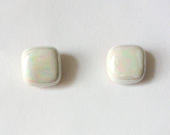 Retro 1950's White Iridescent Rainbow Ceramic Rounded Square Studs Earrings