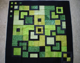 patchwork plaid, contemporary in shades of green and black