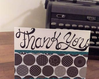 Handmade Card - Thank You with Black and White Pattern
