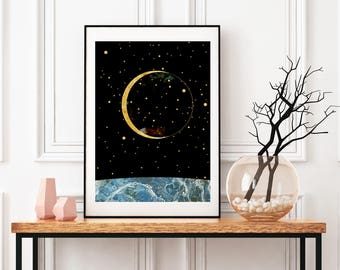 Sun And Moon Wall Art moon wall decor | etsy