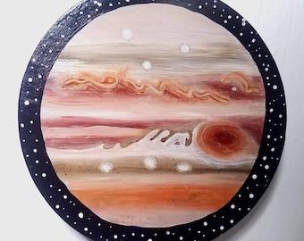 Planet Jupiter Acrylic Painting on Wood