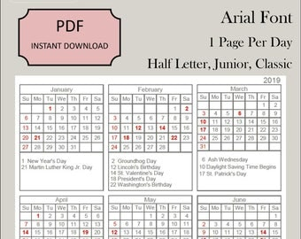 2019 Yearly Planning Page Dated 5.5 x 8.5 Professional looking Junior Half Arial Font Page PDF Printable Discbound DIY Planner Ring-bound