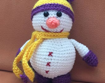 Toy plush snowman hooked handmade
