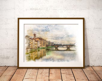 Florence Watercolor Print, Florence Italy Print, Arno River Painting, Ponte Vecchio, Florence Painting, Travel Art, Italy, Florence, Gift