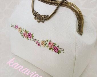 Vintage Cross Stitch Flower Handmade Bag