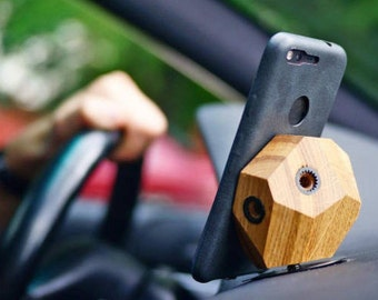 Dash mount wooden phone holder - Halo Auto Young Breeze