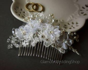 Wedding Hair comb White Bridal Lace Wedding Comb Wedding Lace Hair Comb Bridal Accessories
