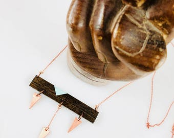 Wood & Copper Geometric Necklace