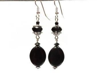 Classic Black Silver dangle earrings
