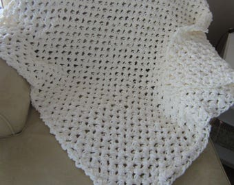 White Crochet Baby Blanket