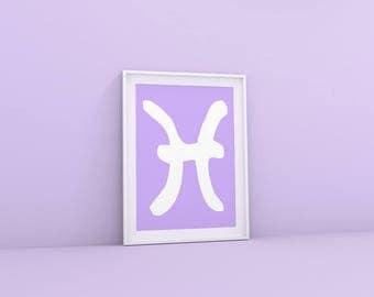 Zodiac Gift Pisces Print, Pisces Zodiac Sign Art, Astrology Print Pisces Sign, Gift for Pisces Zodiac Print, Astrology Decor, Astrology Gift