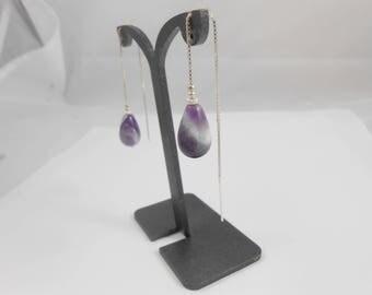 Venetian earrings, drop Amethyst