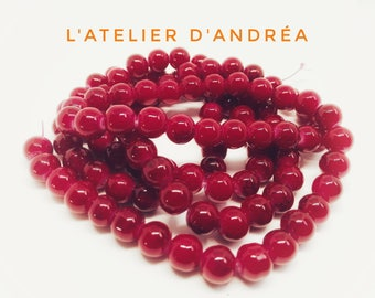 Red-cherry/glass beads / 8.5 mm / jewelry / Christmas / design / decoration