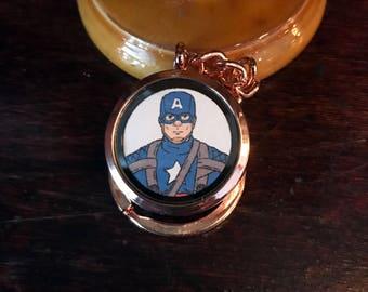 Captain America/Steve Rodgers original fan art Magnetic Keychain Locket. Open locket to unmask Captain America!