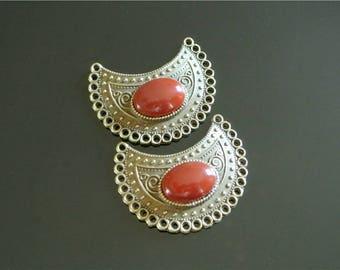 Pair (1) Crescent shaped cabochon, agate cabochon Orange 14 x 10 mm
