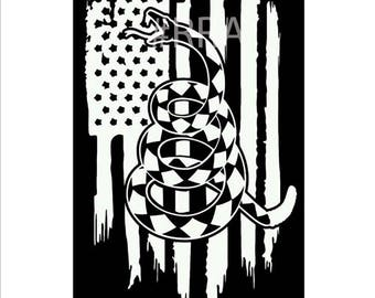 Don't Tread On Me American Flag Vinyl Decal