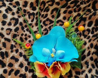 Blue Orchid Hair Flower With Berries