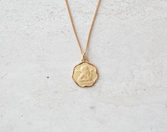 Angel Necklace - Gold Necklace - Angel Medallion Necklace - Medallion Necklace - Coin Necklace Gold - Religious Jewelry
