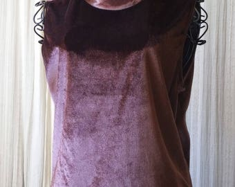 Rusty Chocolate Velvet Sleeveless Shell Mock Turtleneck gilligan & o'malley size M