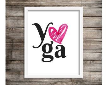 Yoga Heart// yoga art, yoga artwork, art print, yoga decor, gift for her, yogi gift, meditation art, minimalist art, yoga studio decor