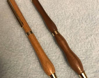 Turned Wood Curvy Ballpoint Pens
