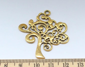 2 Peace Tree Charms - Antique Gold Charms - Peace Tree Pendant - ef0107