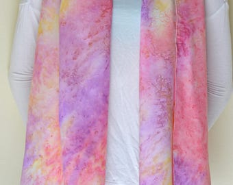 Long rectangular multicolor scarf shawl,  pink, purple, yellow.
