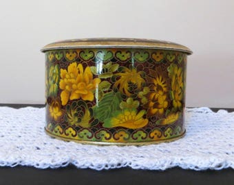 Daher Mini Barrel Floral Tea Tin | Retro Flowers | Designed by Daher | Vintage English Tea Canister