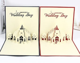 Handmade 3D pop up card big day church wedding Red Blue ceremony birthday marriage proposal Valentines engagement party invitation gift her