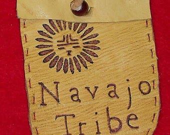Native American Buckskin Leather Medicine Bag W/ Burned Navajo Tribe & Southwestern Sun