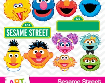 Sesame Street Clipart, High Resolution Sesame Street Image, Sesame Street Birthday Party, Printable Elmo, Big Bird, Bert PNG Files, art-003