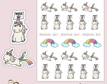 YULIA UNICORN MAGIC   Planner Stickers    Rainbow   Clouds   Erin Condren       S122