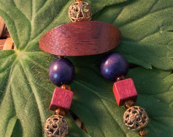 Button earrings - wood and beads