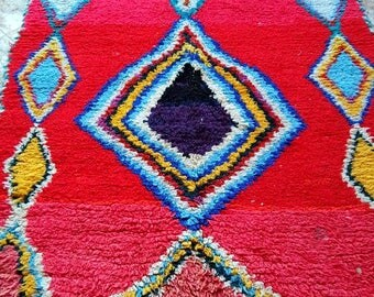 Moroccan Vintage Hand Woven Boucherouite Rug ( 2,10 x 1,10 m )