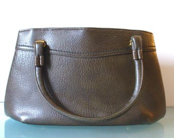 Vintage Garay Olive Drab Pebbled Leather Handbag