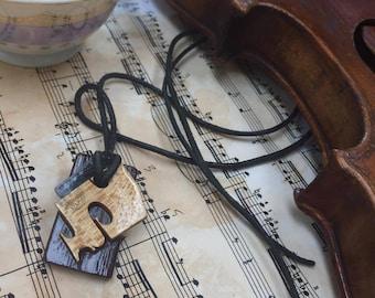 Piano Key and Violin Bridge Pendant