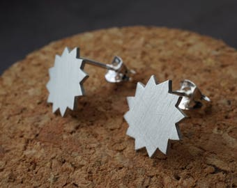 Sun Star Earrings - Simple Star Studs - Sun Post Earrings - Brushed Silver Stud Earrings - Silver Sun Earrings - Polygon Earrings - Sun Star