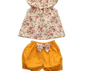 Bloomer Outfit - Girl Bloomer Outfit - Swing Set - Girls Clothing - Baby Girls Clothing - Vacation - Floral Bloomers - Sale