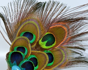 Peacock feather large hair clip