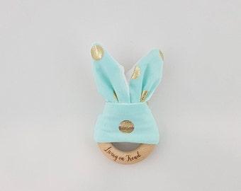 Bunny Ear Teether Mint / Gold