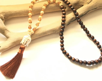 Buddha & Brown tassel Mala necklace / boho necklace Natural zen stone lass brown wood beads black tassel buddha