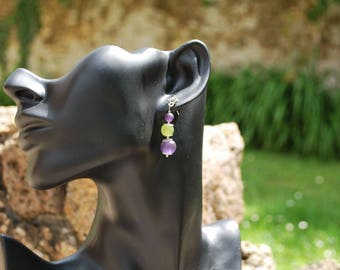 """""""Earring"""" Purple and lime green """"."""