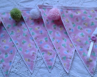 Pink nursery bunting+ pom poms