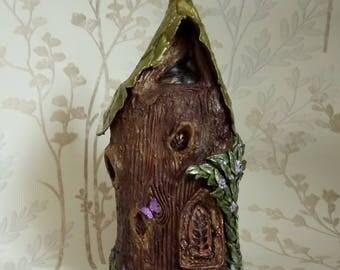 Leaf Cottage Fairy House Handmade