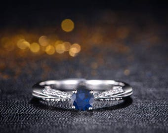 Round Blue Sapphire Engagement Ring 14k White Gold or Yellow Gold or Rose Gold Milgrain Blue Sapphire Ring Proposal Ring Anniversary Ring