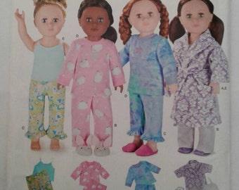 Simplicity Pattern W0115*RARE*OOP*...SLEEPWEAR... Fits American Girl & other 18 inch dolls