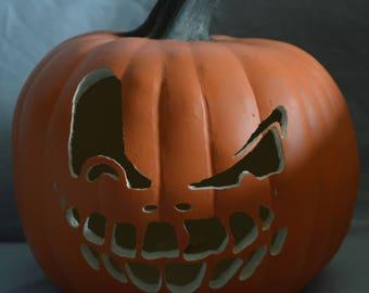 Creepy, Scary Jack-O-Lantern Smiling Face: Carved Foam Pumpkin