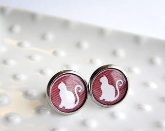Red Stripe White Cat Silhouette - Stainless steel Earrings - 12mm rounds - Epoxy resin - Sensitive Earrings - Cat Lover Gift - White Animals