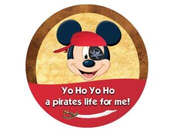 Mickey Yo-Ho Yo-Ho A Pirates Life for Me! - Pirate Night Button - Pirate Pin - Pirate Costume Button - Theme Park Button