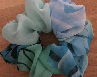 Large Unique Handmade Chiffon Scrunchie. Blue and green with black flower pattern.